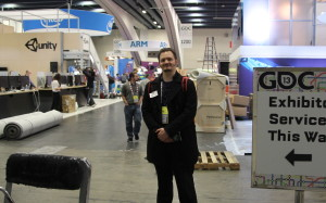 me, posing in front of the soon to be finished expo floor.